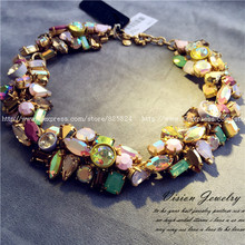 free shipping Luxury Jewelry  extravagant vintage JC GEM CLUSTER statement necklace party Queen wedding(China (Mainland))