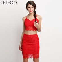 Buy LETEOO Summer Sexy Spaghetti Strap Backless Crop Top Pencil Skirt 2 Two Pieces Set Women Party/Beach Clothing Suit Female L3 for $11.78 in AliExpress store