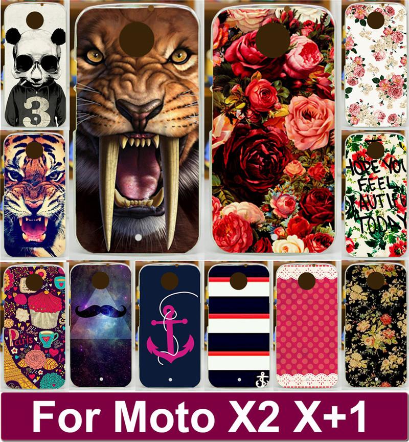 Newer Cool Animal Flower Rose Peony Vintage Aztec Tribal Totem Hood PC Painted Cases For Motorola Moto X+1 X2 X 2 XT1095 XT1097(China (Mainland))
