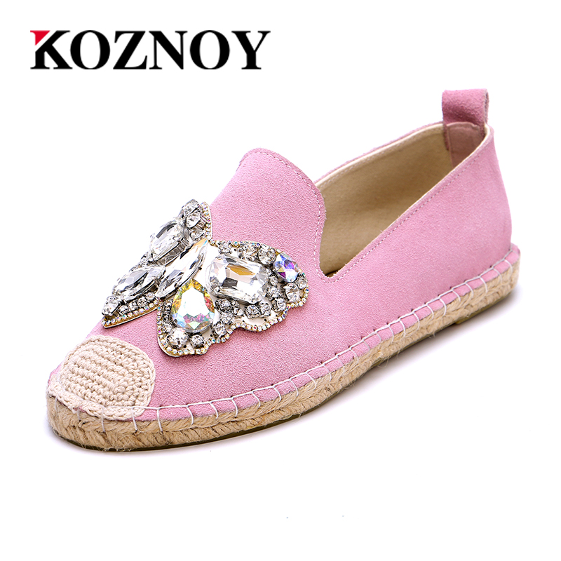 2017 Genuine Leather Flat Shoes Woman Hand-sewn Leather Loafers Cowhide Flexible Spring females Casual Shoes Rhinestone Shoes(China (Mainland))