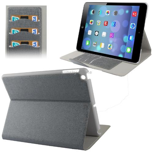 Linen Texture Flip Leather Case with Holder Credit Card Slots for iPad 5 Grey<br><br>Aliexpress