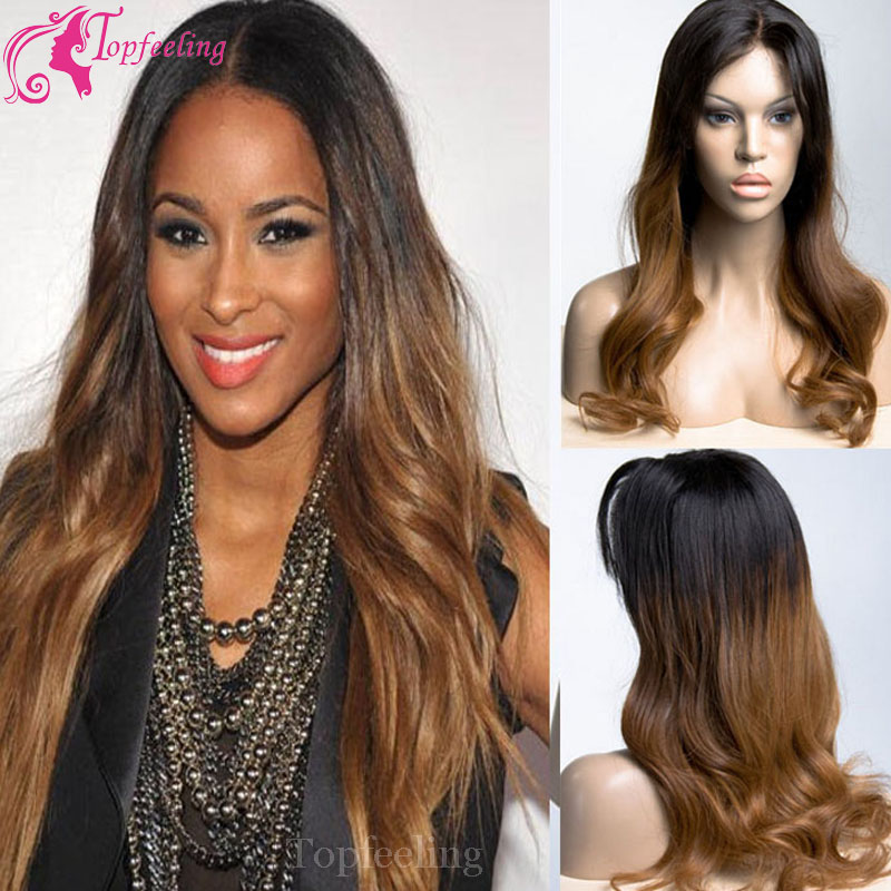 2013 top selling free shipping beautiful virgin full lace wig two tone hair wigs<br><br>Aliexpress