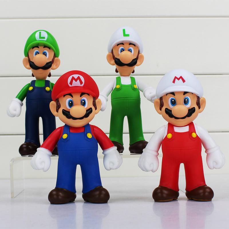 EMS 80Pcs/Lot Anime Super Mario Bros Luigi Mario PVC Figure ToyS Model Dolls 12~13CM Great Gift Free Shipping
