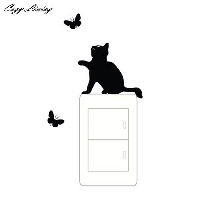 Switch Panel Stickers 1 PC Room Window Wall Decoration Switch Vinyl Decal Sticker Butterfly Cat Wall Sticker Posters D24