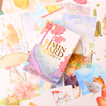 54 pcs/set mini Chubby Cat card greeting card rabbit lomo memo card kids gift postcard kawaii stationery(China (Mainland))