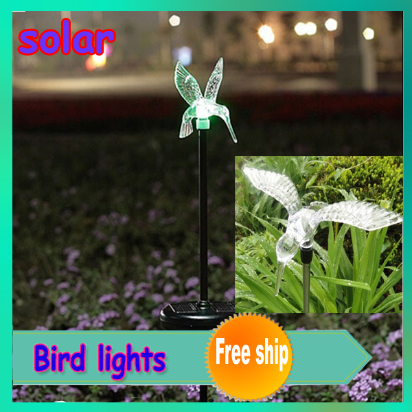 2pcs/lot new lovely solar powered colorful bird lights solar garden Landscape lights butterfly Dragonfly bird can chose(China (Mainland))