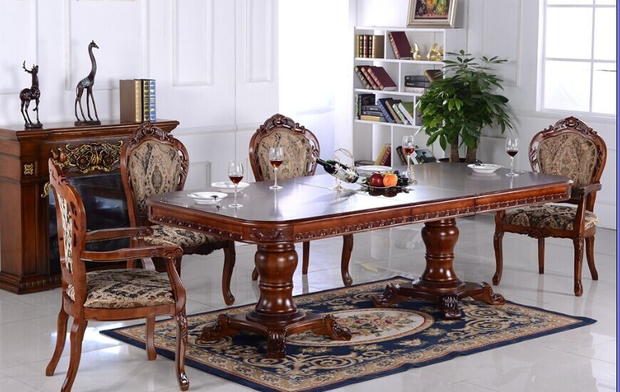 red color oak solid wood dinning room furniture set for