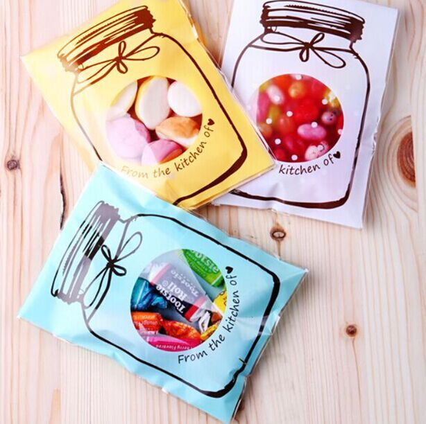 <100PCS/LOT> Kids birthday party supply cooking packaging colorful bottle sealing bag candy box bags baby shower favors(China (Mainland))