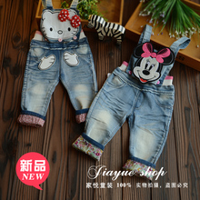 2015 Baby Girls Denim Pants Overall Trousers Bebe bib pants jeans trousers Soft Jeans Kitty Minnie Cartoon Design Quality Pants(China (Mainland))