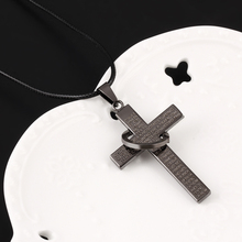 Fashion Cross Stainless Steel necklace for men s Rope Chain Scriptures cross necklaces statement jewelry Best
