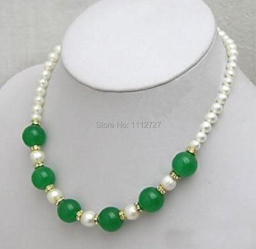 new beautiful free delivery Beautiful white Pearl Necklace with green Emerald Beads Jewelry Natural Stone BV15 Wholesale Price(China (Mainland))