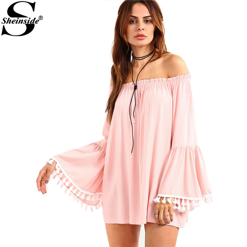 Sheinside 2016 Summer Women Tops Pink Off-The-Shoulder Shirt New Style Tassel Trimmed Long Bell Sleeve Blouse -(China (Mainland))
