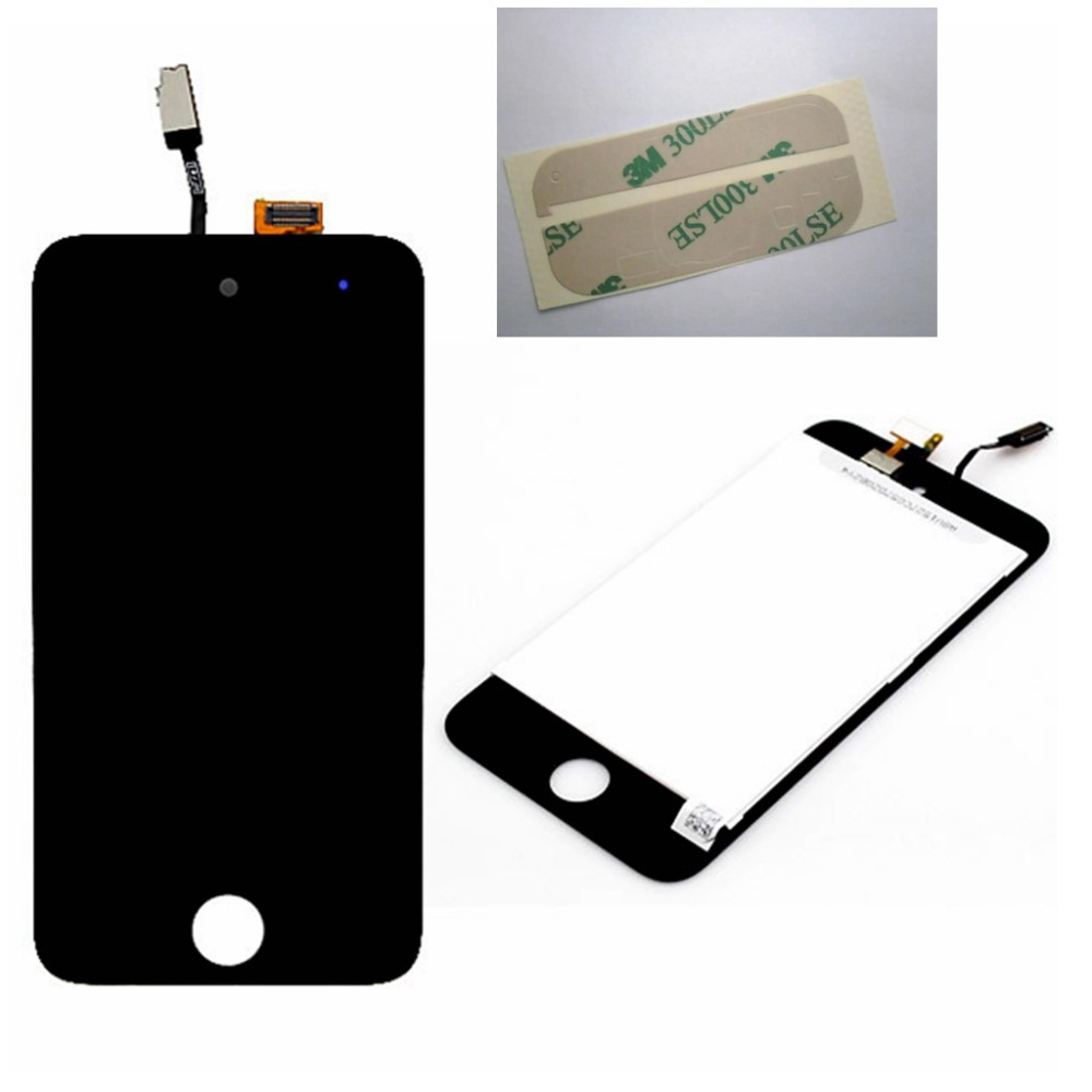 Black For Apple iPod Touch 4 4G LCD Display Touch screen Digitizer Assembly + Adhesive Free shipping !!!(China (Mainland))