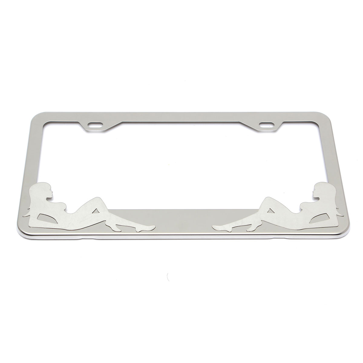 New Stainless Steel Polished License Plate Frames Plain Blank Metal Tag Cover Caps For car(China (Mainland))