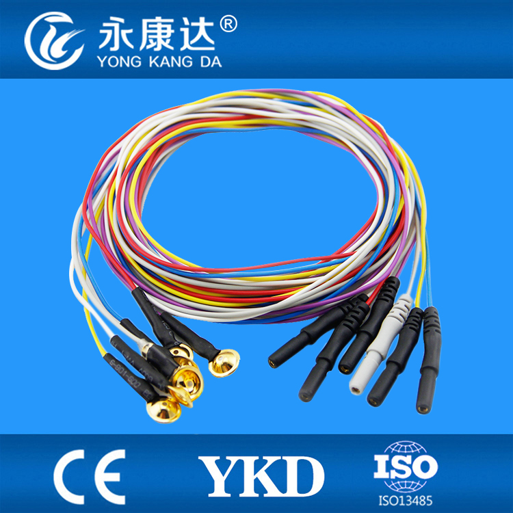 Colored EEG cable,eeg cable with electrode,Din1.5 eeg cable for medical,20leads/set,