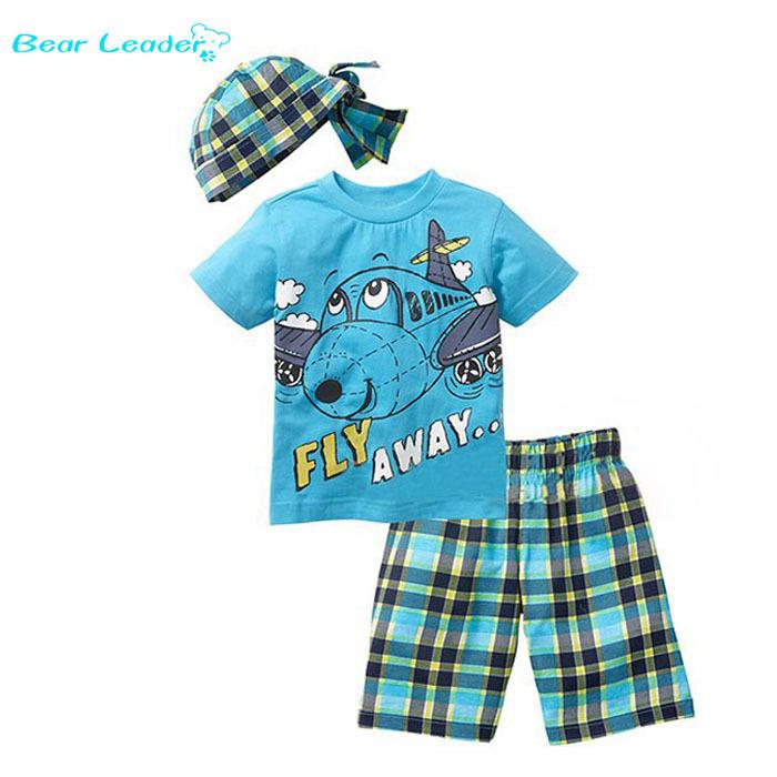 Bear Leader Active boys sets boy shorts Cartoon suits summer short sleeve T-shirt + plaid pants + hat 3 pieces clothing set(China (Mainland))