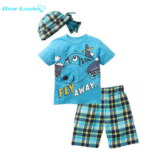 Bear Leader Active boys sets  boy shorts Cartoon suits summer short sleeve T-shirt + plaid pants + hat 3 pieces clothing set(China (Mainland))