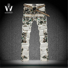 High Quality 3D Printed Jeans Men Fashion Denim Mens Jeans 2016 New Famous Brand Elastic Skinny Jeans Casual Men Clothing(China (Mainland))