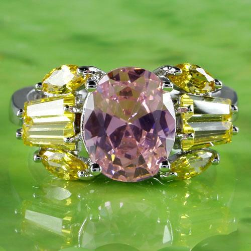 Mixed Oval Cut Pink Topaz & Citrine Crystal Gift Rings18K White Gold Plated Ring Size 7 Women Ring anillos de las mujeres A0110(China (Mainland))