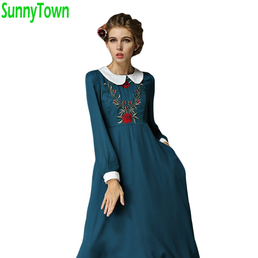 collar long sleeve women's embroidery casual maxi vintage dresses 2015