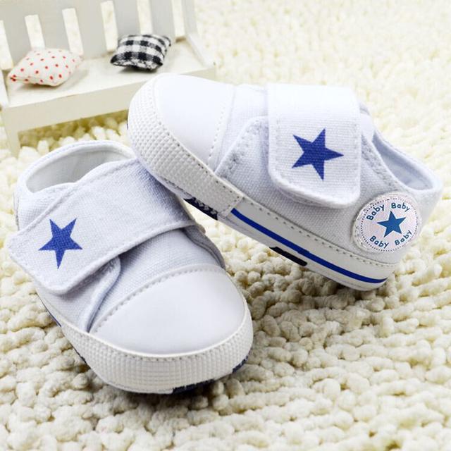 2015 новорожденного первый уокер красный липучки детская парусиновые туфли звезды ...
