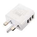 UK Plug 3 USB Port AC Wall Home Travel Charger Charging Power Adapter For Samsung For
