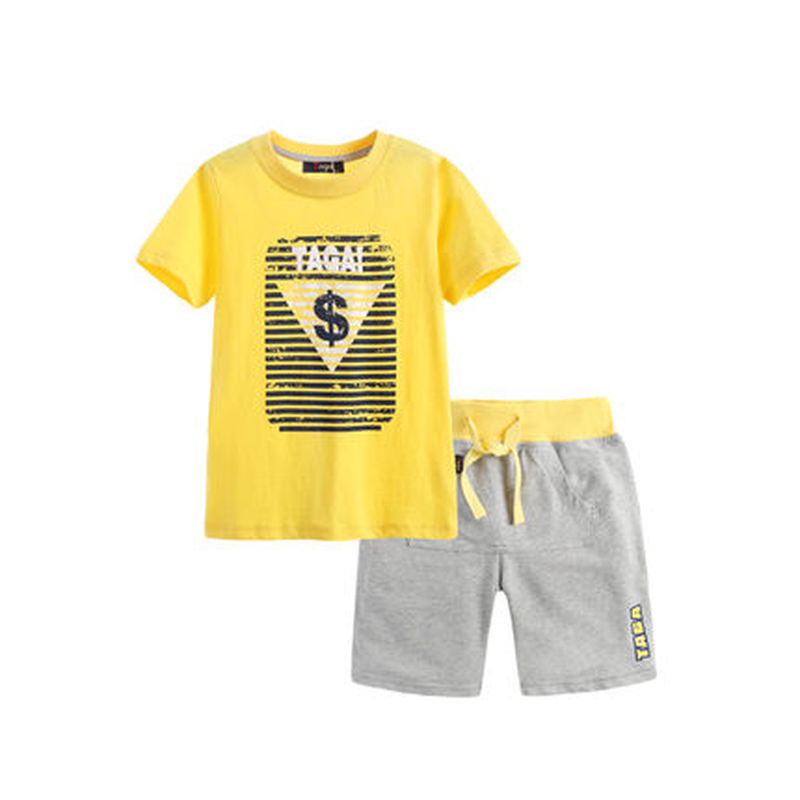 Фотография 2016 Summer New Arrival Baby Boys Clothing Sets Blue / Yellow Short Sleeve Letters T-Shirt + Trousers 2PCS Clothes