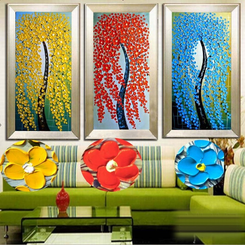 Buy 2016 Home Decor New Fashion Abstract Fortune Rich Tree 100% Handpainted Knife Thick Oil Painting On Canvas free Shipping cheap