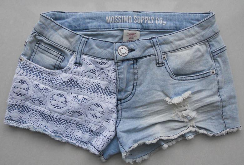 Mossimo женщин эластичное кружево лоскутное джинсовые