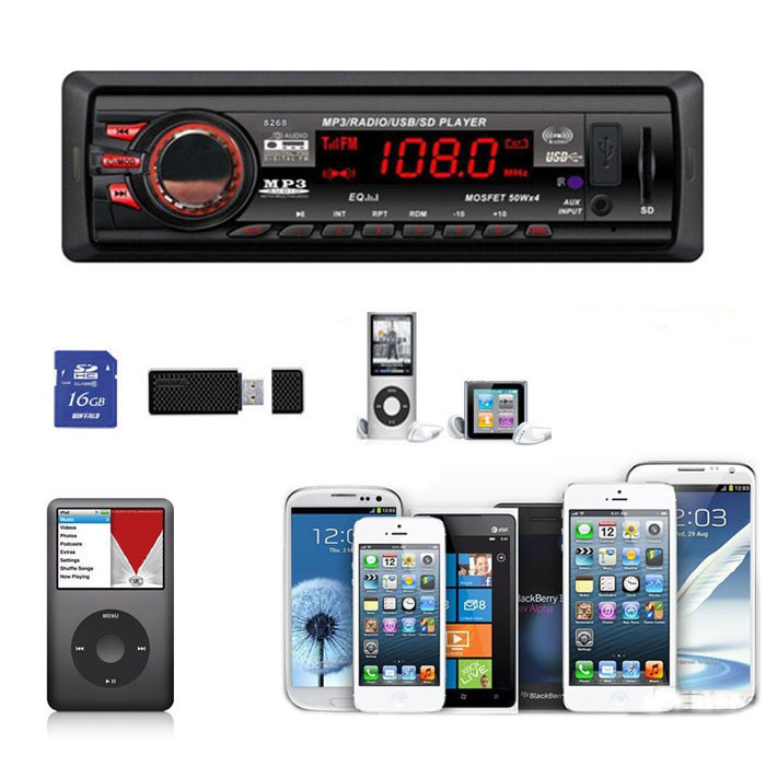High Quality Car Auto Bluetooth Stereo Audio Aux Input USB/SD/FM MP3 Receiver Player In-Dash 8268 free shipping(China (Mainland))