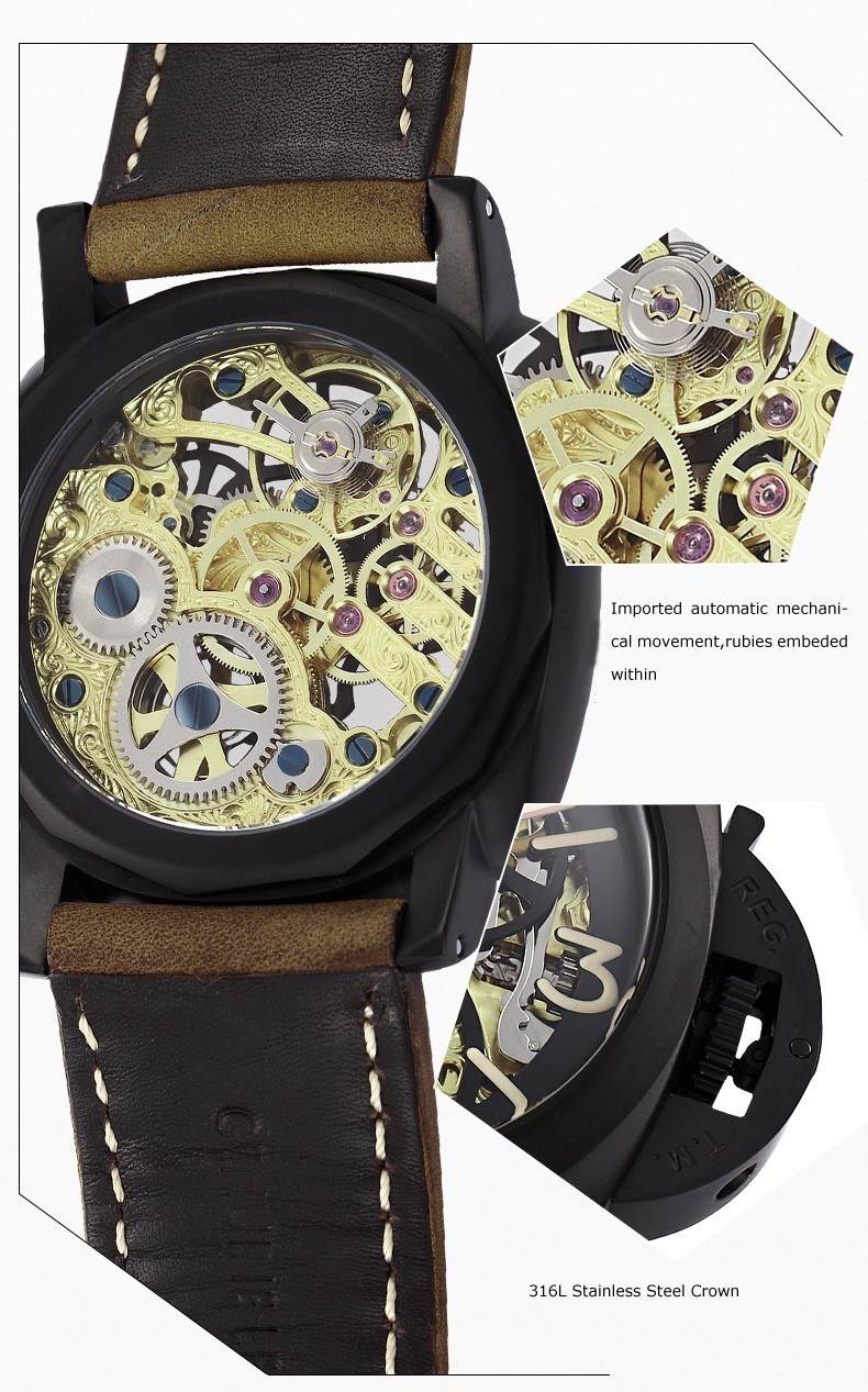 Parnis ЧЕРЕП Seriers Светящиеся Мужские Кожаный Ремешок Моды Автоматические Механические Часы Наручные Часы