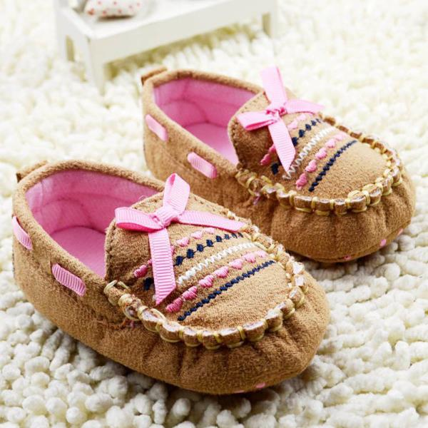Good* Brown Baby First Walk Shoes Soft Newborn Cotton Bow-knot Shoes