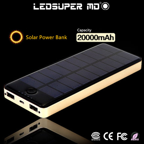 Hot New Products for 2015 Solar Power Bank 20000MAH for iPhone Powerbank for Tablet(China (Mainland))