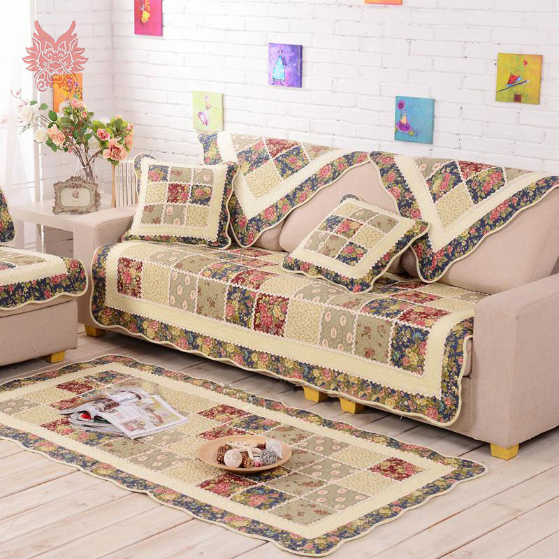 European pastoral style floral print Sofa cover 100%cotton quilting slipcovers quilted canape for sofa SP2766 FREE SHIPPING