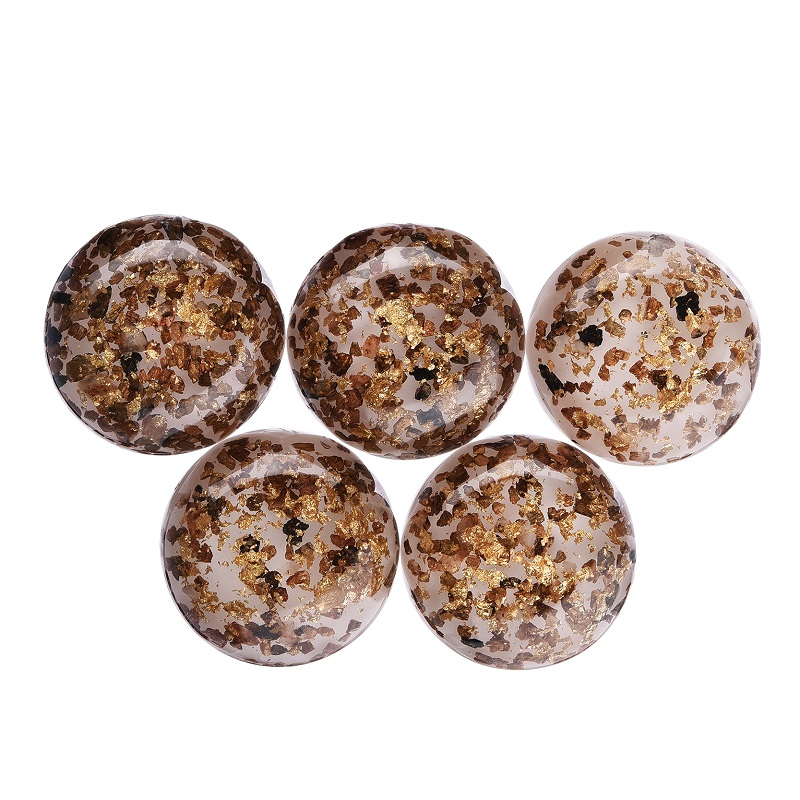 5PCS/Lot DIY 30mm Round White And Golden Glitter Transparent Resin Cabochon Scrapbook Flat Back Crafts Decoration Accessories(China (Mainland))