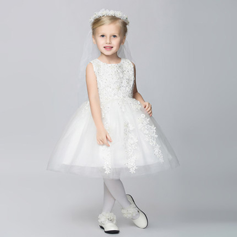 kids clothes children white lace wedding dress for girls 2015 new flower girl dresses for weddings first communion dresses<br><br>Aliexpress