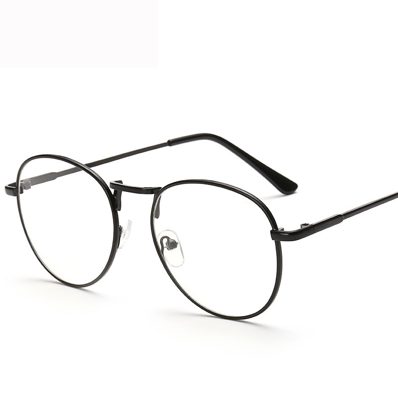 women retro round metal eyeglasses frames men myopia clear lens glasses frame optical transparent eyewear