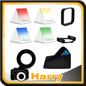 Free Shipping graduated Color Square Filter + Filter Hood & Holder + 49MM Ring Adapter +Filter Pouch with 6 Pockets for Cokin