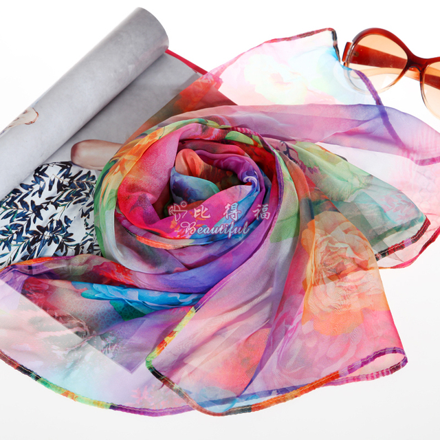 2013 summer package mail digital printing silk prevent bask authentic mulberry silk scarves, scarves shawls