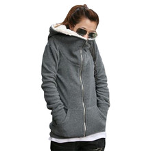2016 Women Autumn Winter Warm Thick Fleece Coat Hooded Jacket Outerwear Hoodies Female Fleece Hoody Sweatshirt