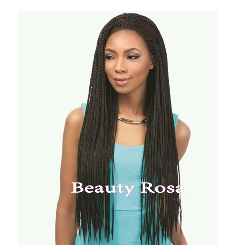 New Style Full Hand Braided lace front wigs for black african american women #1 micro jumbo synthetic box braided lace front wig