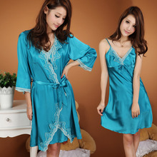 Free Shipping Sexy temptation cattiness silk robe nightgown twinset sleepwear spring and autumn homewear(China (Mainland))