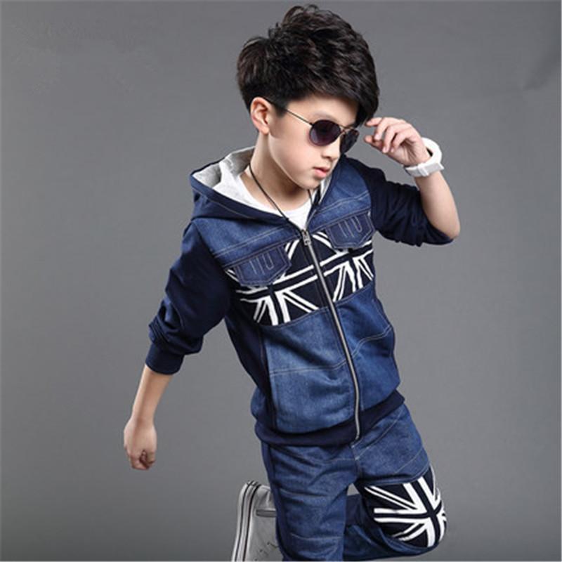 Hot sale 2015 autumn new arrive children clothing set boys sports suit kids jeans hoodies+pants 2 pcs baby boys clothes. kx005(China (Mainland))