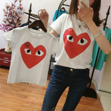 New 2016 Family Look heart T Shirts Summer Family Matching Clothes Father Mother Kids Cartoon Outfits Family Matching Clothes