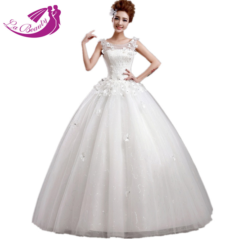 white wedding dress ball gown appliques flower lace wedding dresses