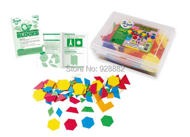 Gigo toy #1042 Teaching Aid 250 PCS PLASTIC PATTERN BLOCKS incl. hexagons trapezoids rhombus triangles squares and beige rhombus(China (Mainland))