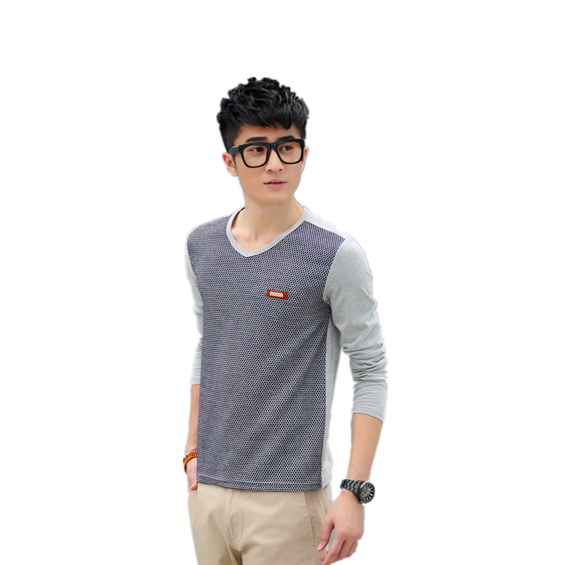 Fashion Design Black and white Plaid Freestyle T Shirts Men 100% Cotton Top O-Neck Casual T-shirt long Sleeve(China (Mainland))