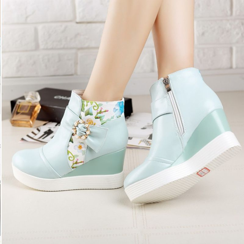 Wedge Women Casual Cheap Platform Shoes Ankle Boots College Style Pearl Teenage Girls Short Hot Selling Lolita Simple High Heel<br><br>Aliexpress