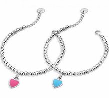 CM685 Fashion 925 sliver simple heart shape Bracelets for Women party and christmas gift  Bead Bracelets & Bangles For Women(China (Mainland))