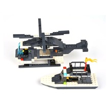 Police Series Riot Police Helicopter Boat Building Block Sets 285pcs Educational DIY Bricks Toys For Children
